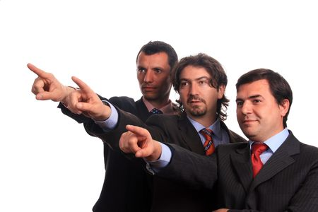 businessteam pointing over white background