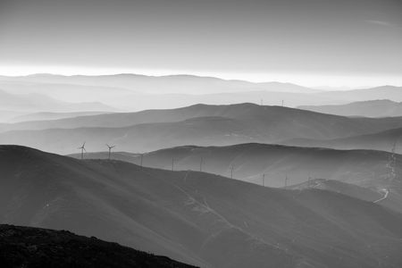 ridgeline: mountain landscape with layers and bw Stock Photo