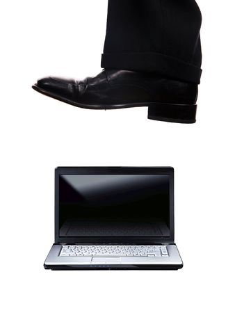 business foot walk over laptop with white background Stock Photo - 2946412