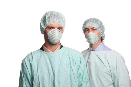 resident: Nurses over white background studio Stock Photo