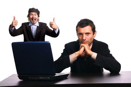 entrepeneur: businessteam over white background studio