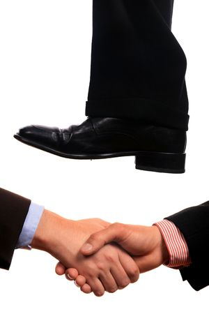 business shoe steping and destroying Stock Photo