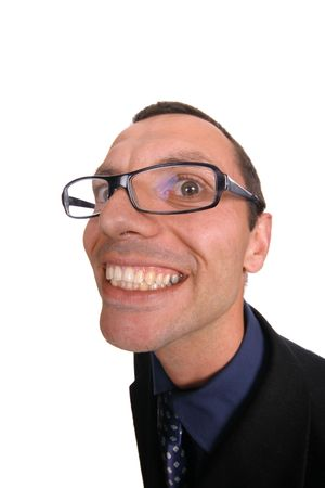 young business man playing silly over white background