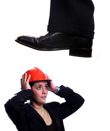 enough: business shoe steping and destroying Stock Photo
