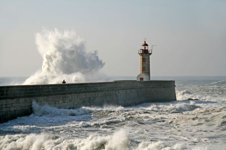 oporto: lighthouse in oporto in Portugal