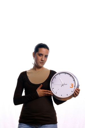 young business woman with clock photo