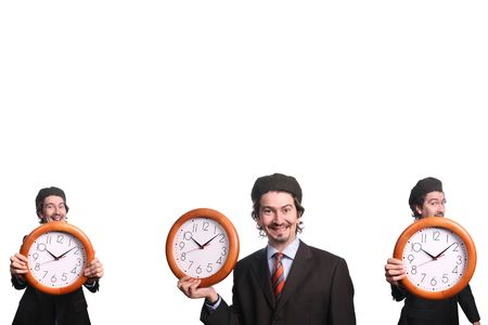 businessman with clock over white background photo