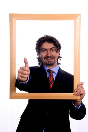 businessman over white studio background