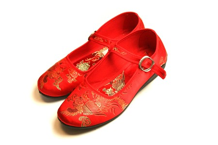 red beautiful chinese oriental shoes