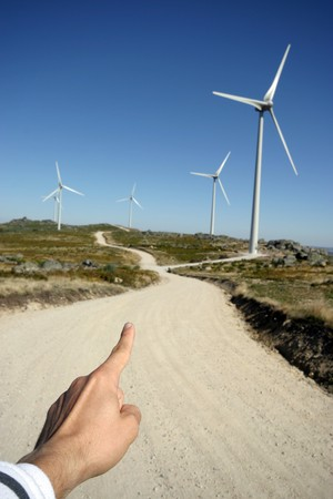 wind turbines black and white