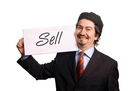 business man with chart over white background photo