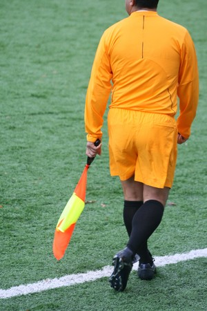 linesman: A soccer linesman during a game