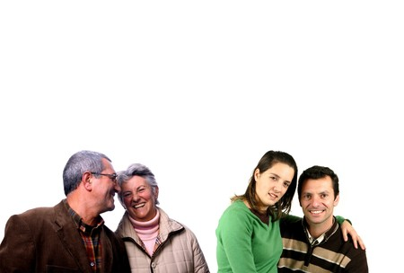 two couples, two generations over white background Stock Photo - 4290480