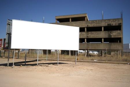 Brand new billboard in blue sky photo