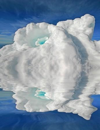 icescape: beautiful iceberg over blue sky