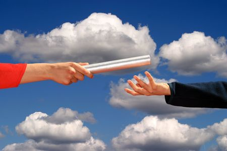 hands passing the baton, business and sports theme Stock Photo