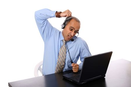 agressive: agressive man in a business call center