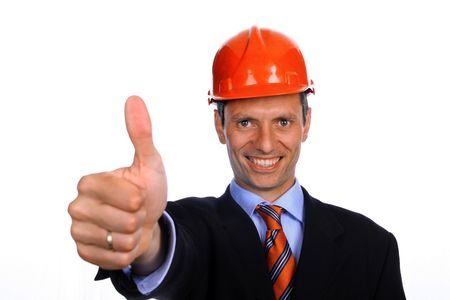 man with construction hat portrait on white background photo