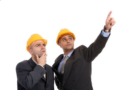 man with construction hat portrait on white background Stock Photo
