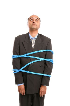 businessman tied up by angry co-workers photo