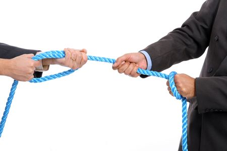 analogy: Businessman pulling on a piece of rope