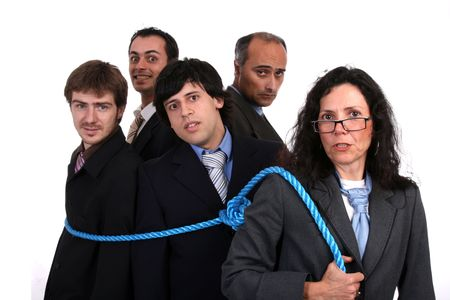 businesswoman boss with rope and team workers photo