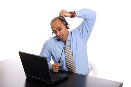 agressive man in a business call center