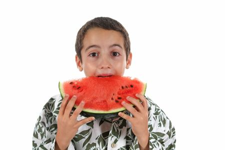 boy and watermelon isolated on white photo