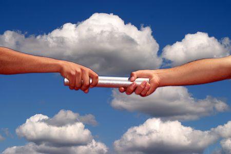handen passeren van het stokje, het bedrijfsleven en sport thema Stockfoto