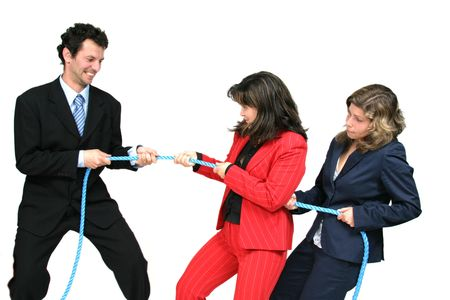 businesswoman boss with rope and team workers Stock Photo