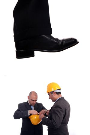 business shoe steping and destroying photo