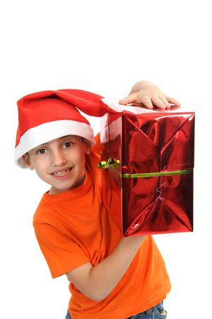 boy with large present at christmas time Stock Photo - 6069152