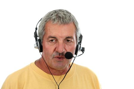 mature man in a business call center Stock Photo