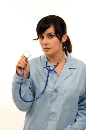 Doctor isolated on white, beautiful nurse woman, healthcare photo  photo