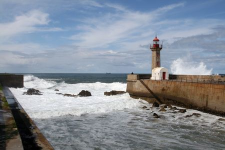 Lighthouse in Foz of Douro, Portugal photo