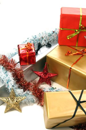 complimentary: beautiful christmas presents on white background