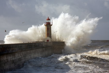 porto: Lighthouse in Foz of Douro, Portugal Stock Photo