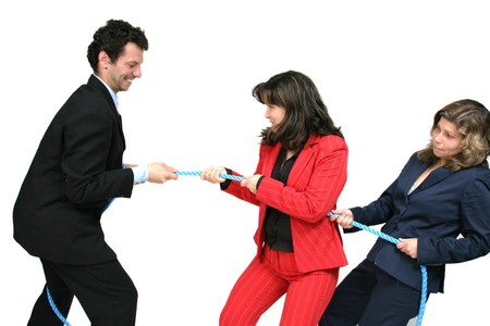 businesswoman boss with rope and team workers Stock Photo - 7860902