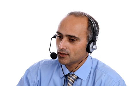 online support: sexy man in a business call center Stock Photo