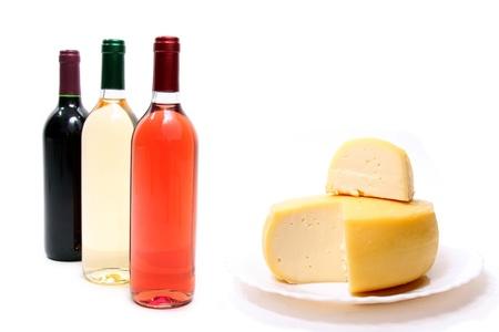 Red, rose and white wine & beautiful cheese photo