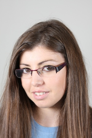 sexy and beautiful businesswoman with glasses, business photo photo