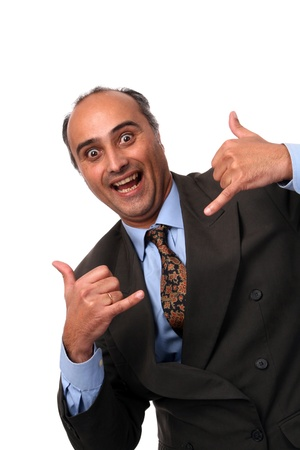 stupid: silly businessman over white background