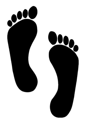Human footprint illustration over white background illustration