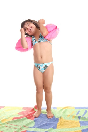 beautiful girl in bikini, child studio photo photo