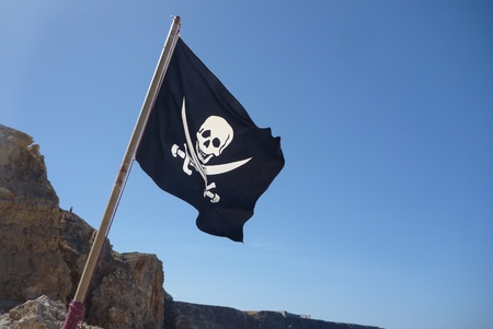 Flag of a Pirate skull and crossbones - Pirates Flag Stock Photo - 12696076