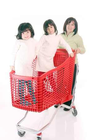 mother and daughter and the shopping cart Stock Photo - 13886001