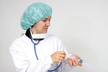 ah1n1: Doctor isolated on white, beautiful nurse woman, healthcare photo Stock Photo