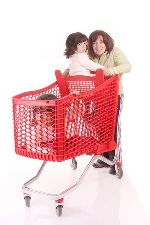 mother and daughter and the shopping cart Stock Photo - 13886049