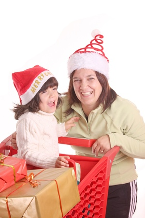 mother and daughter and the shopping cart Stock Photo - 13885882
