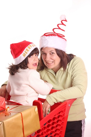 mother and daughter and the shopping cart Stock Photo - 13885881